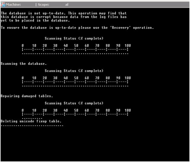 "Exchange 2007 DB repair stuck at ""Deleting Unicode fixup"